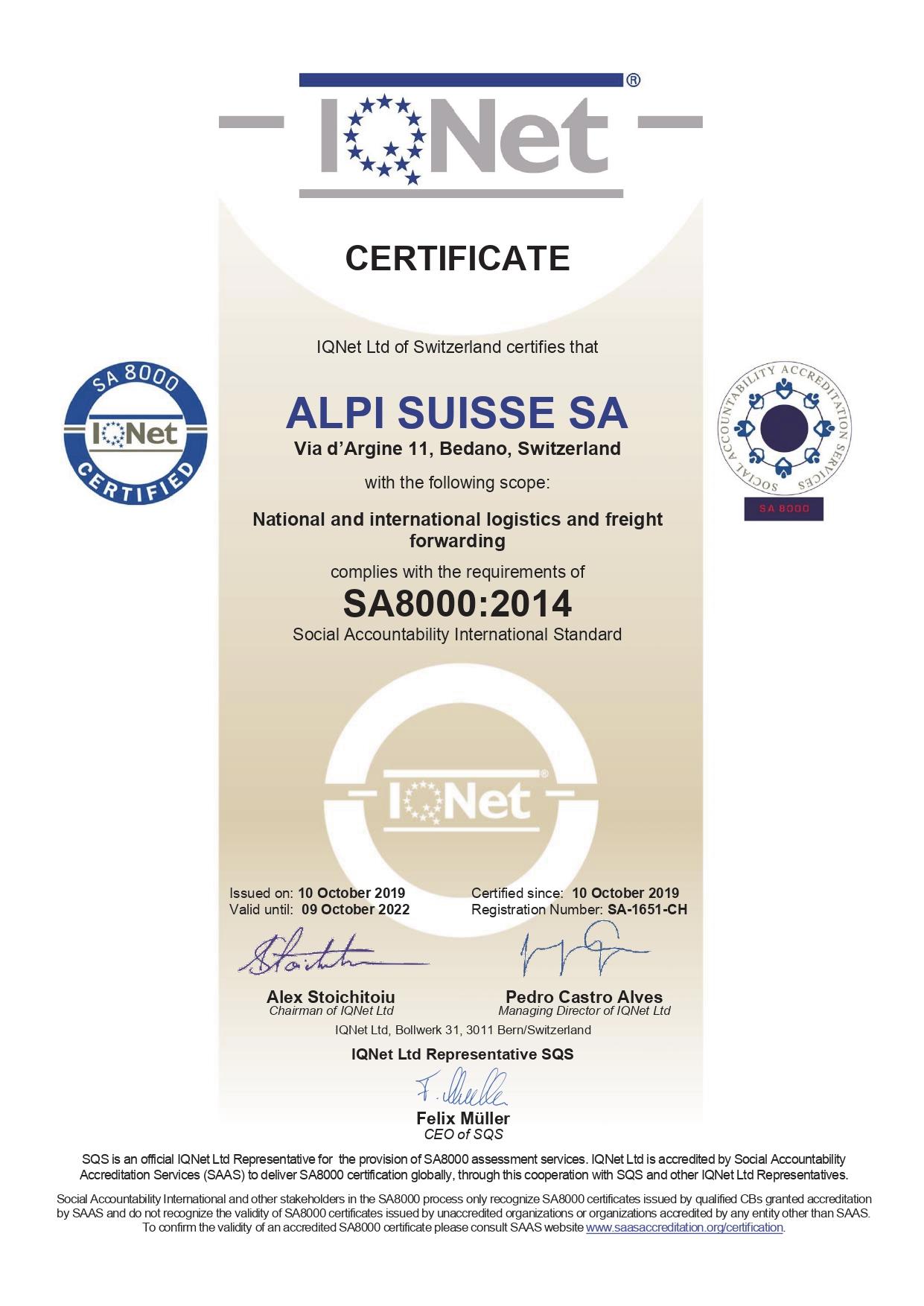 ALPI Suisse: 7° azienda certificata SA8000 in Svizzera