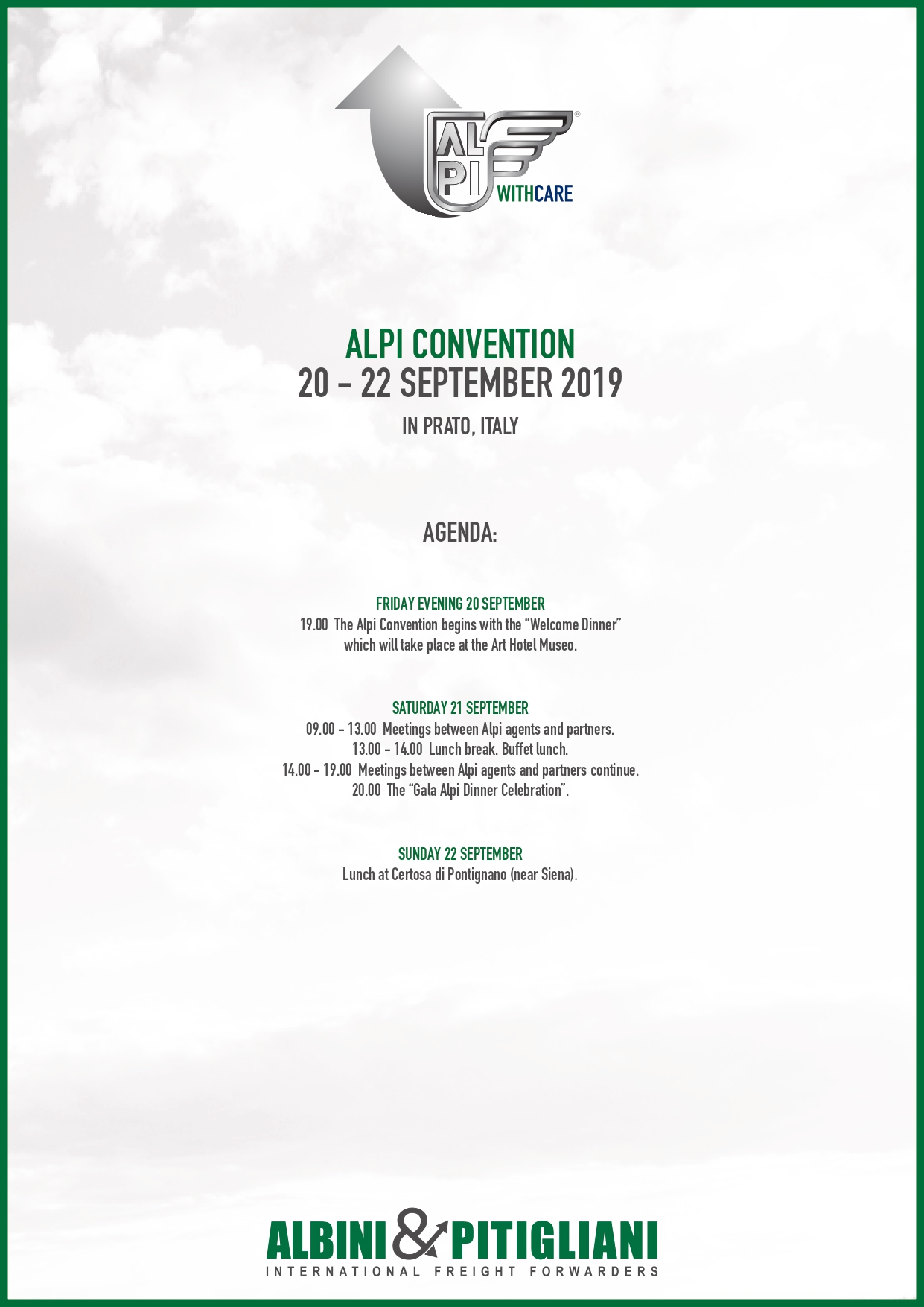 Agenda ALPI Convention 2019
