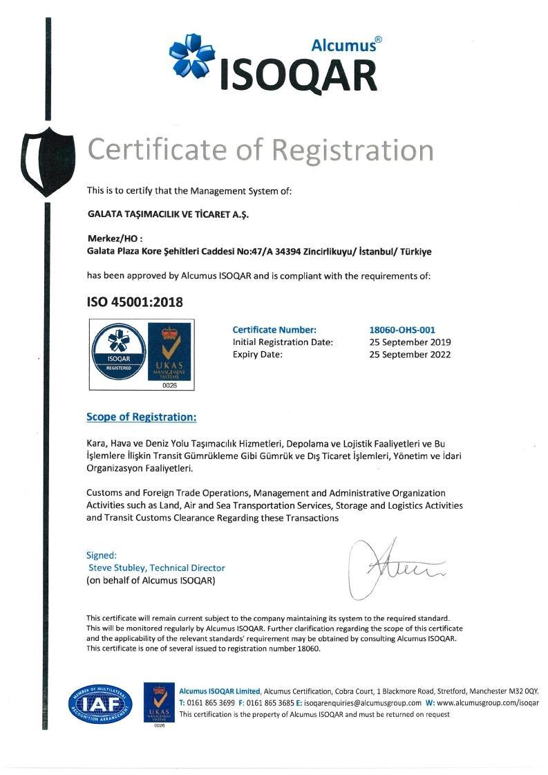 ISO 45001: 2018 Accreditation for ALPI Galata