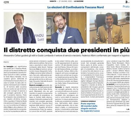 Conferma Presidenza Sezione Trasporti & Logistica Confindustria Toscana Nord