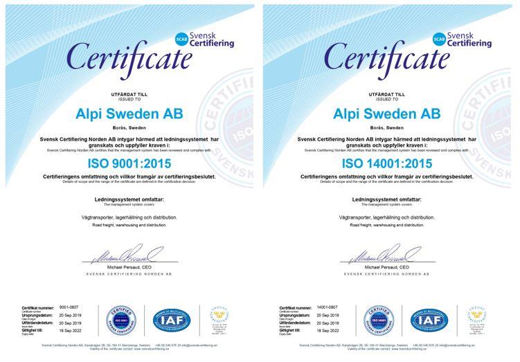 ALPI Sweden - ISO Certifications